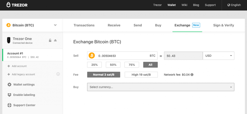 TREZOR wallet cryptocurrency exchange dashboard