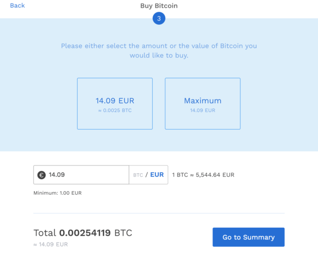 BitPanda - Select The Amount Or The Value Of Bitcoin You Would Like To Buy