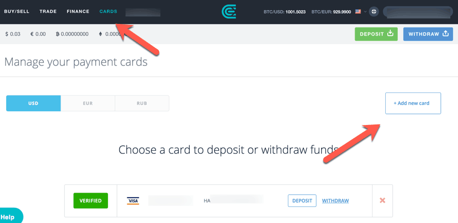 CEX.IO Add A Debit Card