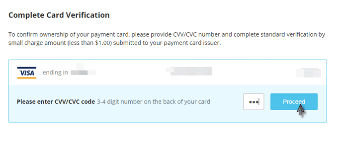 CEX.IO 3 Digit CVV/CVC Code Verification Step