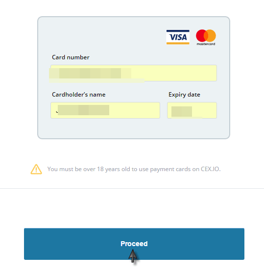 CEX.IO Enter Card Information