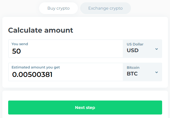 Changelly - Choose Payment Method In USD or BTC