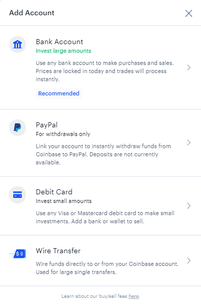 Coinbase - Add A Payment Method