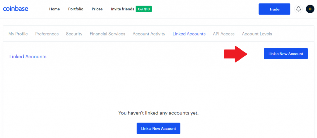 Coinbase - Link A New Account