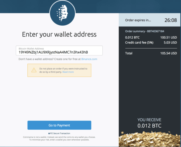 Coinmama - Enter Your Wallet Address