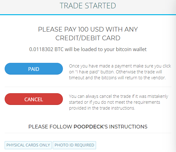 Paxful - Buy Bitcoin With Debit Card Or Credit Card Vendor Trade Screen