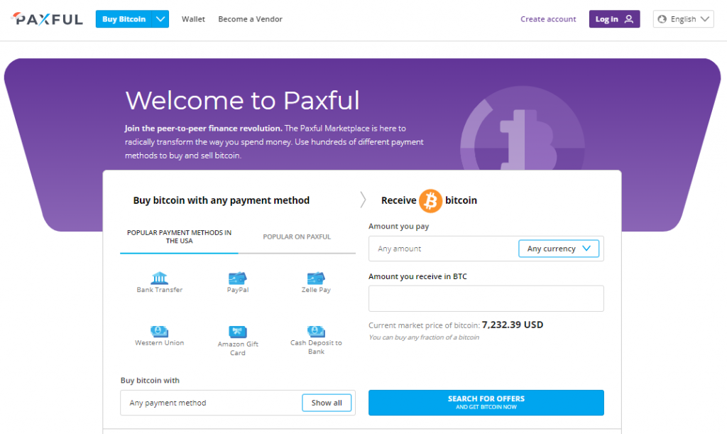 Paxful Homepage Marketplace Dashboard