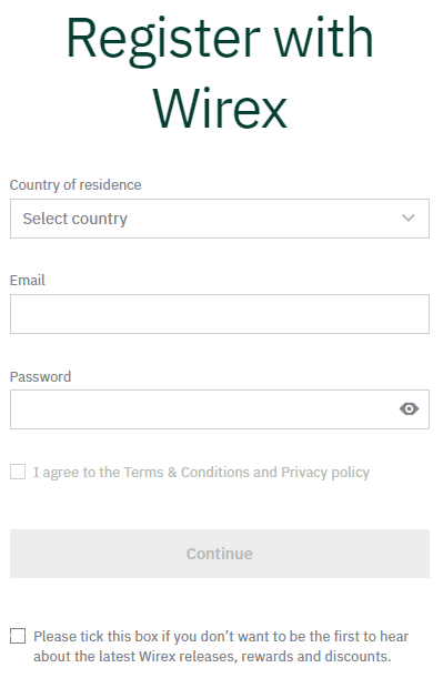 Wirex - Sign Up