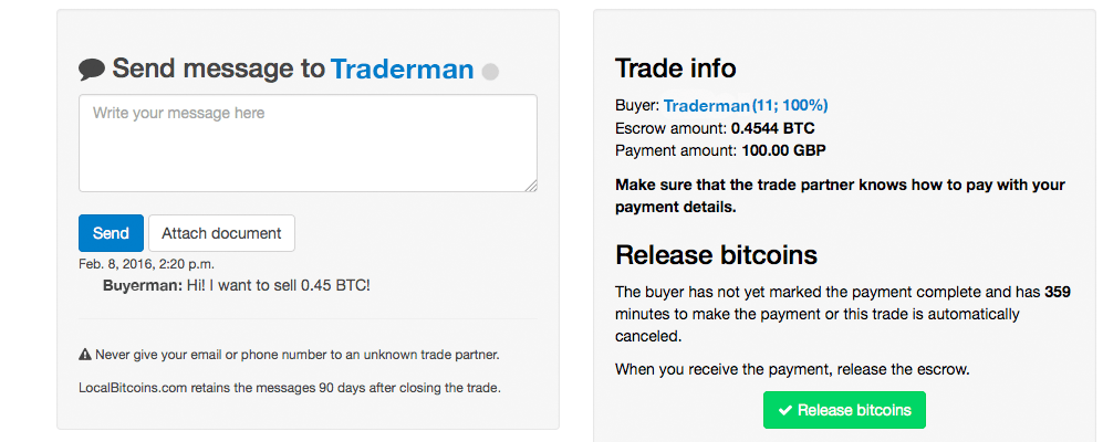 LocalBitcoins - Trade Escrow Screen