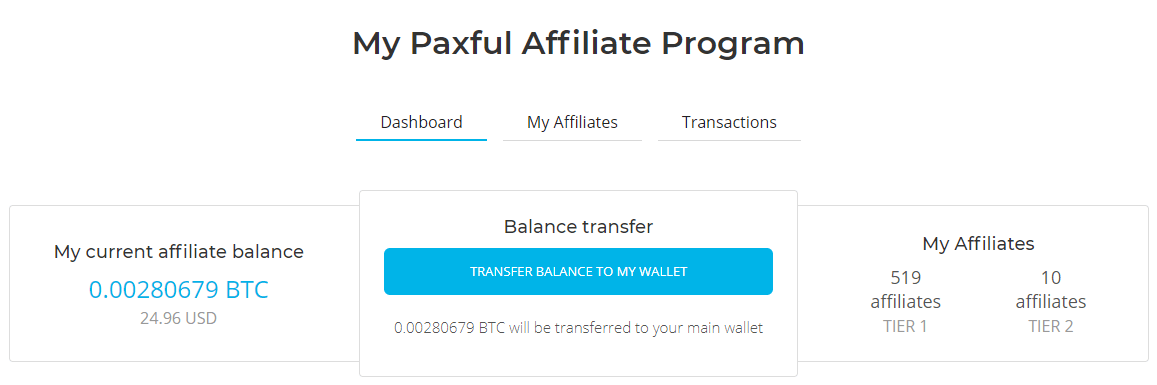 Paxful Affiliate Program Dashboard