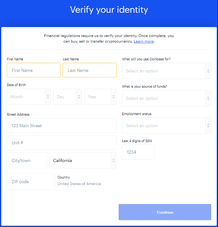 Coinbase - Verify Your Identity