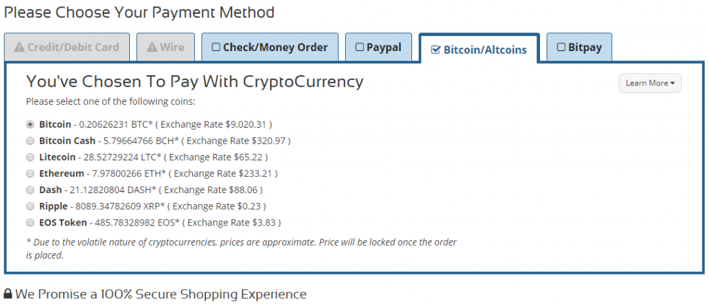 Money Metals Exchange - Choose A Payment Method