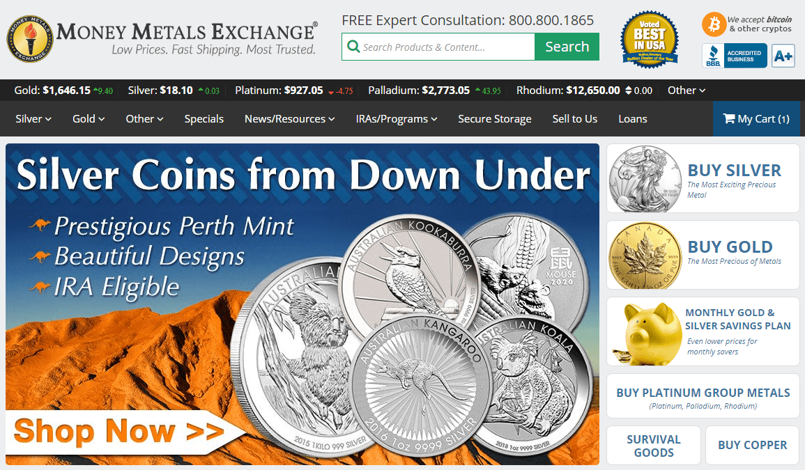 Money Metals Exchange Homepage