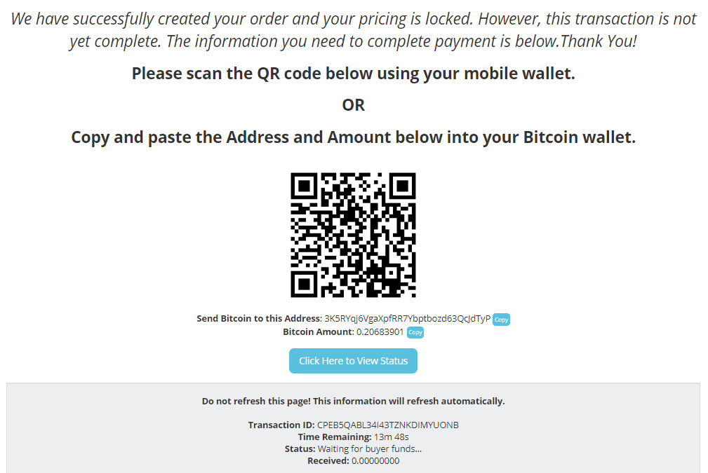 Money Metals Exchange - Send Bitcoin To Complete Payment
