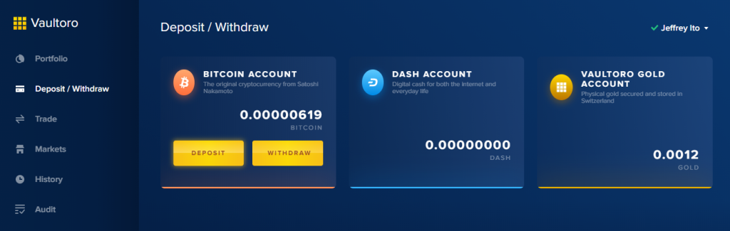 Vaultoro - Withdraw or Deposit BTC