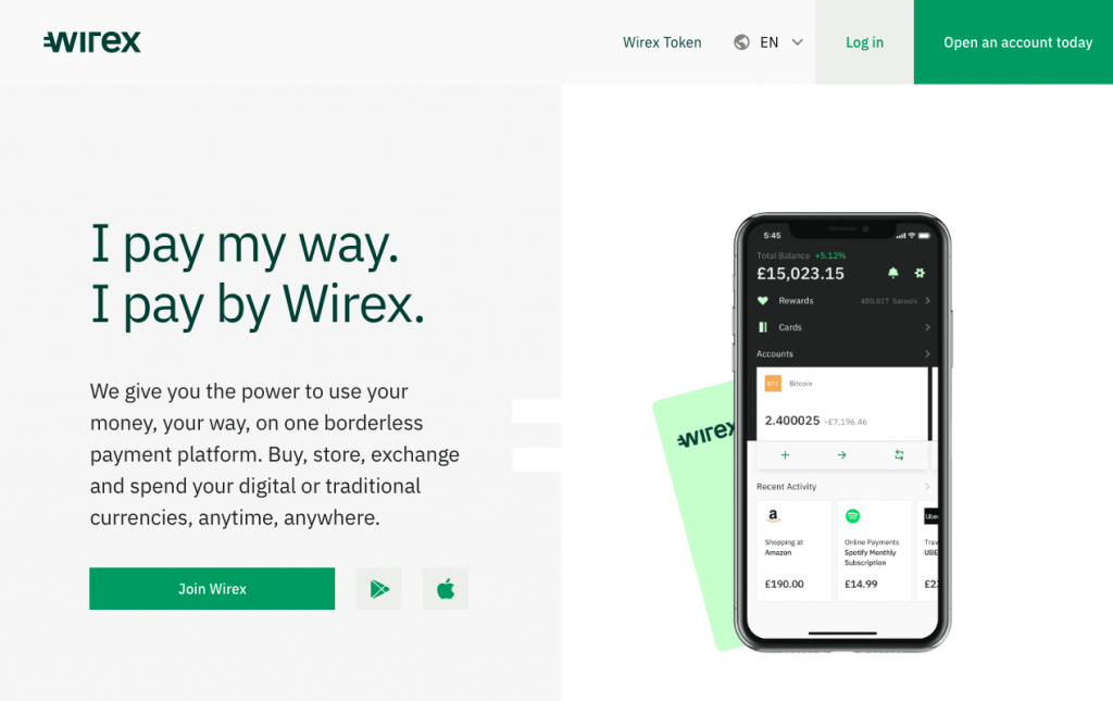 Wirex App Homepage